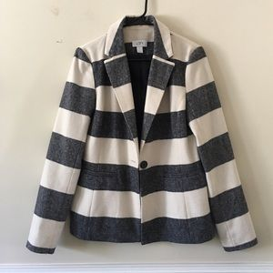Loft black and white strip winter blazer